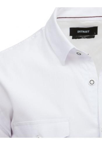 Pánská módní košile s klasickým límečkem v bílé barvě