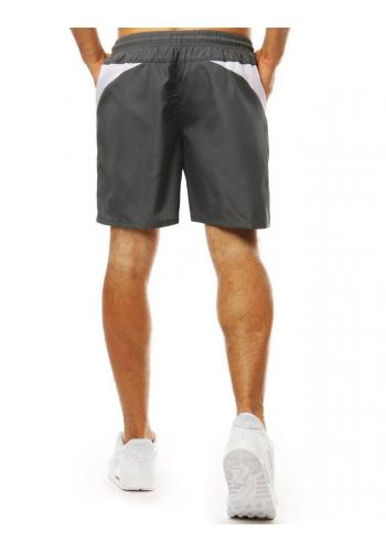 Pánské módní kraťasy na koupání v tmavě šedé barvě