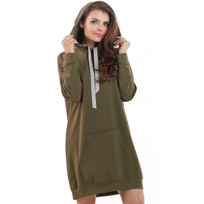 Dámské mikinové šaty s kapucí v kaki barvě