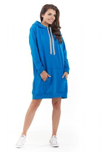 Modré mikinové šaty s kapucí pro dámy