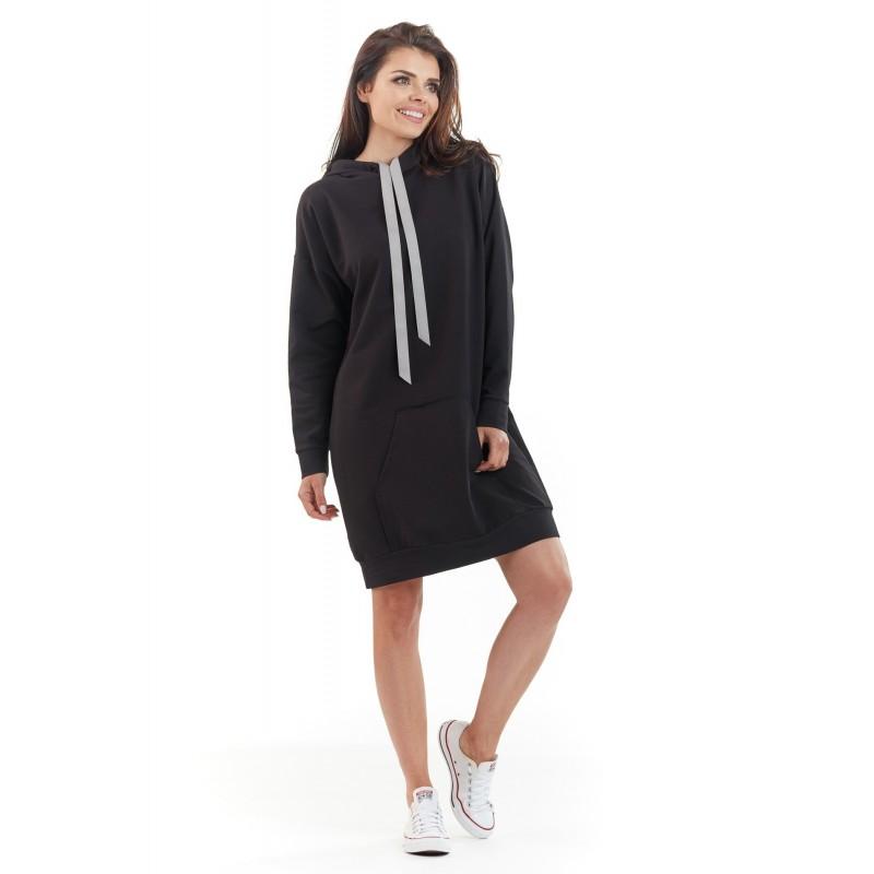 Dámské mikinové šaty s kapucí v černé barvě