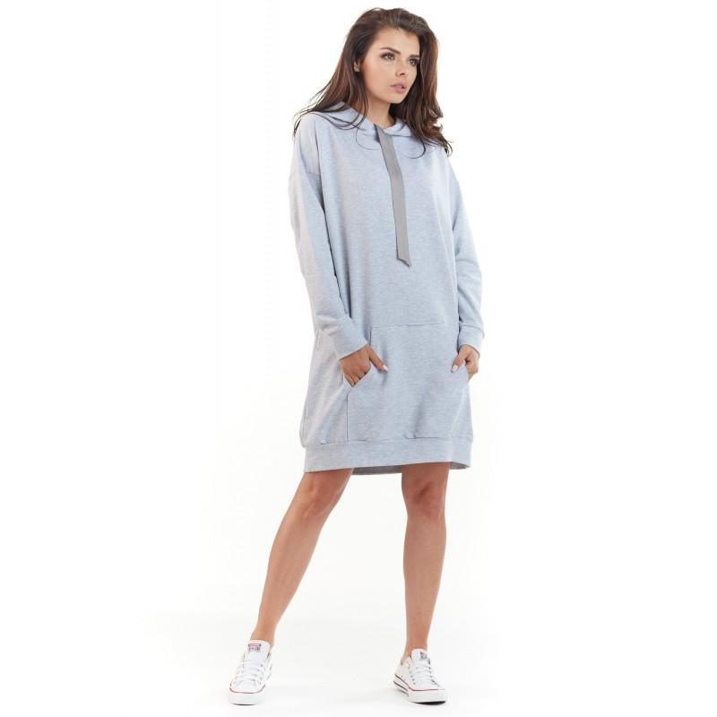 Šedé mikinové šaty s kapucí pro dámy
