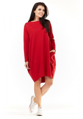 Červené sportovní šaty s dlouhým rukávem pro dámy