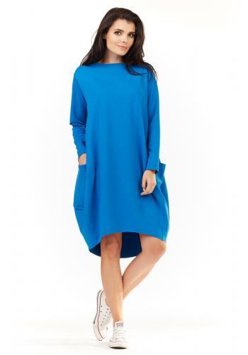 Sportovní dámské šaty modré barvy s dlouhým rukávem