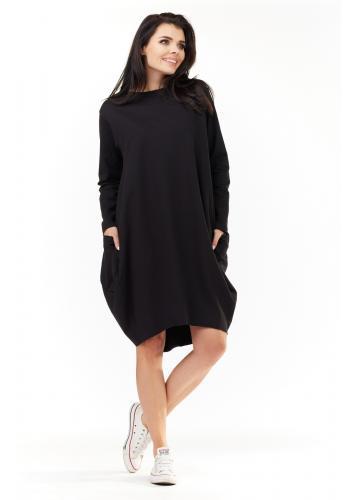 Dámské sportovní šaty s dlouhým rukávem v černé barvě