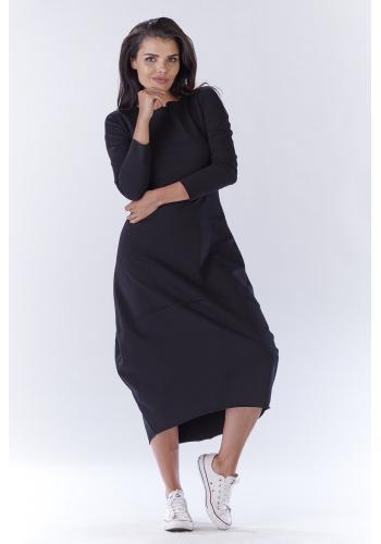 Dlouhé dámské šaty černé barvy ve sportovním stylu