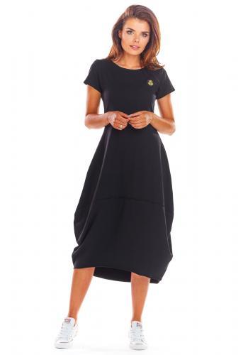 Černé módní šaty s krátkým rukávem pro dámy