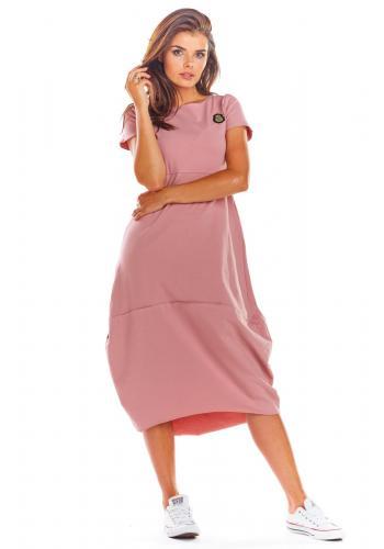 Módní dámské šaty růžové barvy s krátkým rukávem