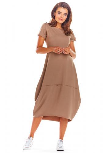 Dámské módní šaty s krátkým rukávem v béžové barvě