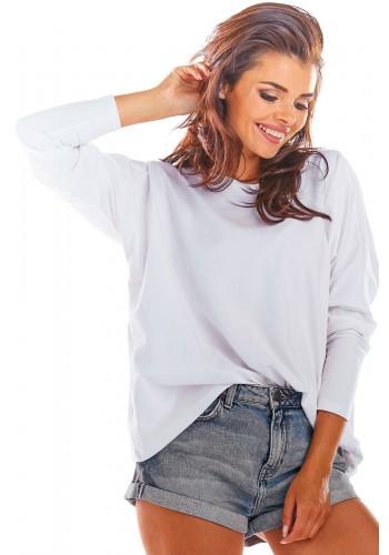Volné dámské tričko bílé barvy s dlouhým rukávem