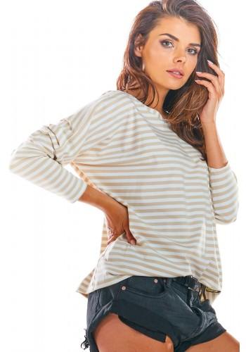 Dámské proužkované tričko s dlouhým rukávem v béžovo-bílé barvě
