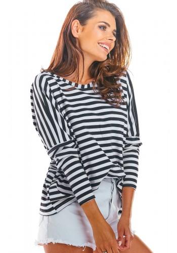 Černo-bílé proužkované tričko s dlouhým rukávem pro dámy