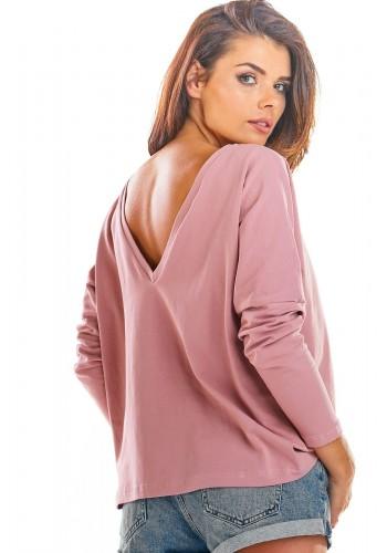 Volné dámské tričko růžové barvy s dlouhým rukávem