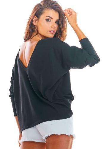 Dámské volné tričko s dlouhým rukávem v černé barvě