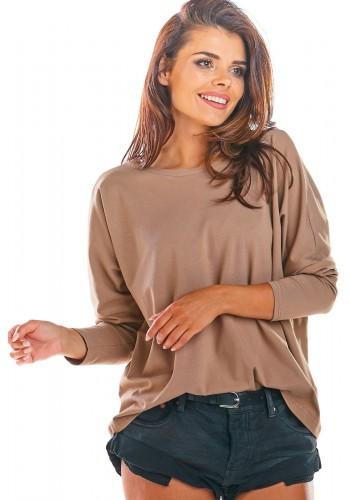 Béžové volné tričko s dlouhým rukávem pro dámy