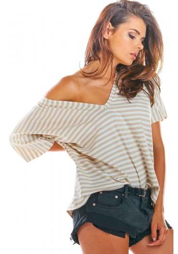Proužkované dámské tričko béžovo-bílé barvy s hlubokým výstřihem