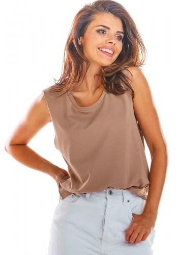 Béžové volné triko bez rukávů pro dámy