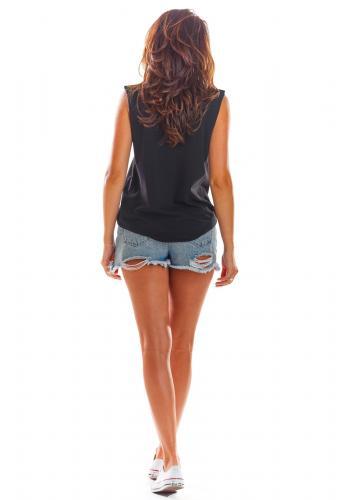 Dámské volné triko bez rukávů v černé barvě