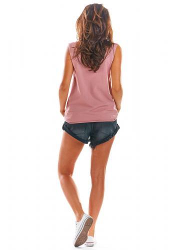 Volné dámské tričko růžové barvy bez rukávů