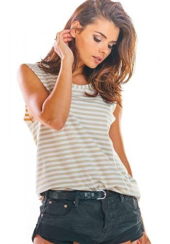 Dámské proužkované tričko bez rukávů v béžovo-bílé barvě