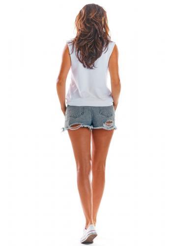 Volné dámské tričko bílé barvy bez rukávů