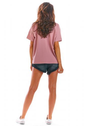 Růžové volné tričko s hlubokým výstřihem pro dámy