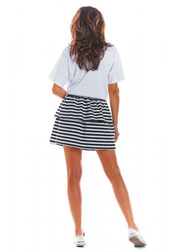 Krátká dámská sukně černo-bílé barvy s volány