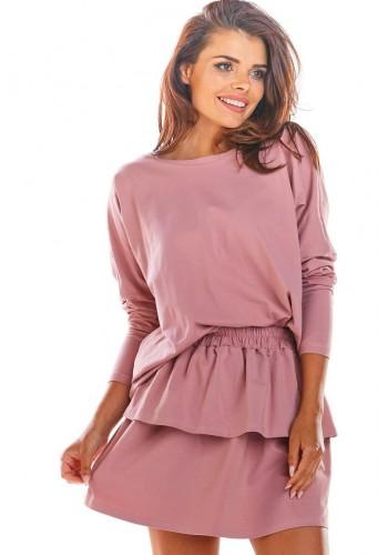 Dámská krátká sukně s volány v růžové barvě