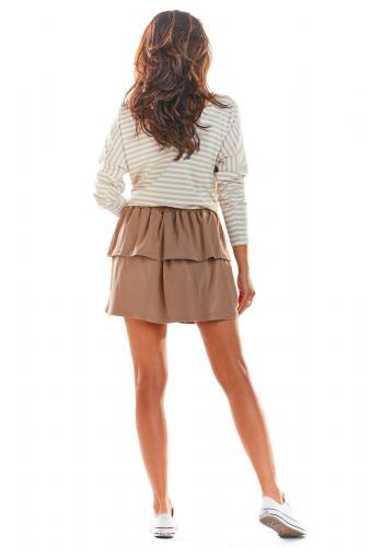 Krátká dámská sukně béžové barvy s volány