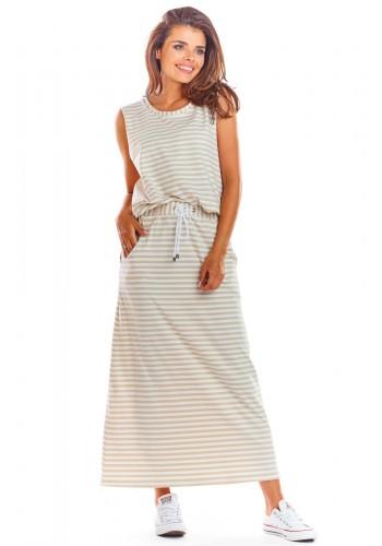 Dámská dlouhá sukně na léto v béžovo-bílé barvě
