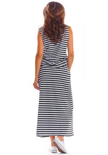 Černo-bílá dlouhá sukně na léto pro dámy