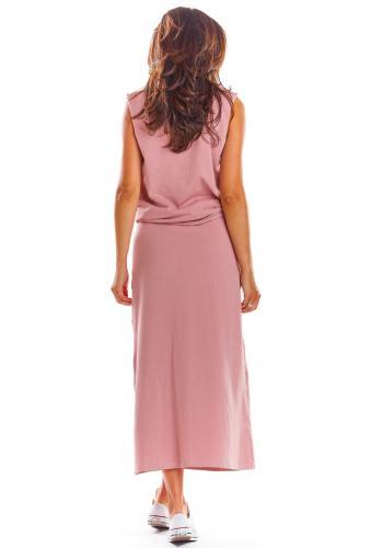 Dlouhá dámská sukně růžové barvy na léto