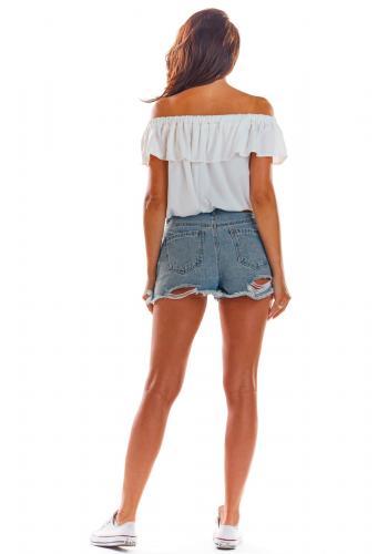 Letní dámské halenky bílé barvy s volánem