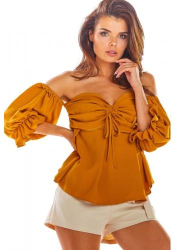Velbloudí letní halenka s odhalenými rameny pro dámy