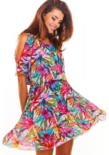 Dámské letní šaty s květy v růžové barvě