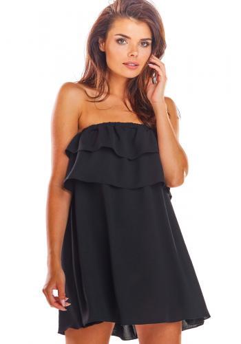 Černé volné šaty s odhalenými rameny pro dámy