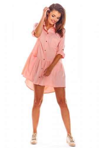 Dámské košilové šaty na léto v růžové barvě