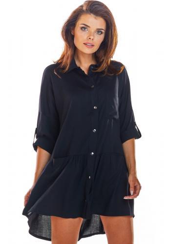 Černé košilové šaty na léto pro dámy