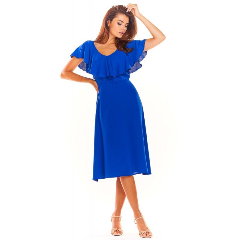 Dámské elegantní šaty s volánem v modré barvě