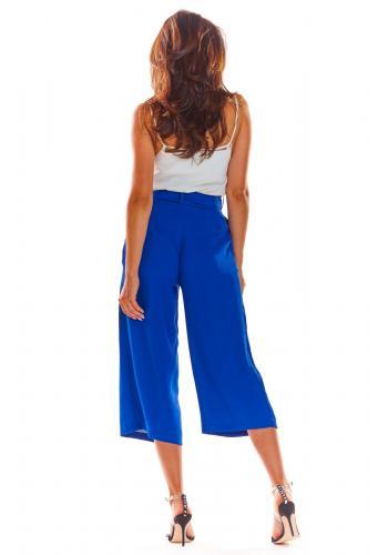 Dámské módní kalhoty na léto v modré barvě