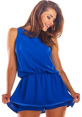 Letní dámský overal modré barvy s mini sukní