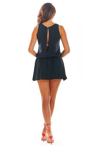 Dámský letní overal s mini sukní v černé barvě