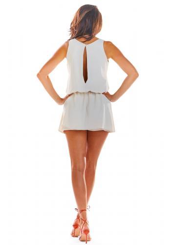 Béžový letní overal s mini sukní pro dámy