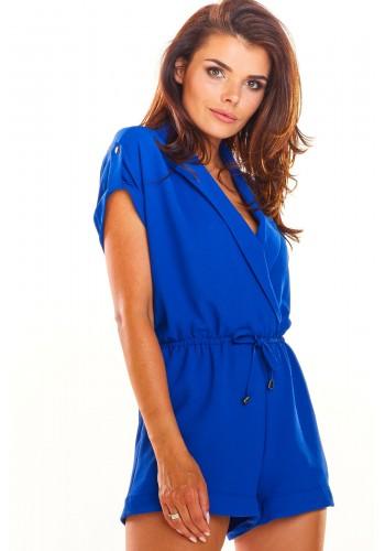 Dámský elegantní overal na léto v modré barvě