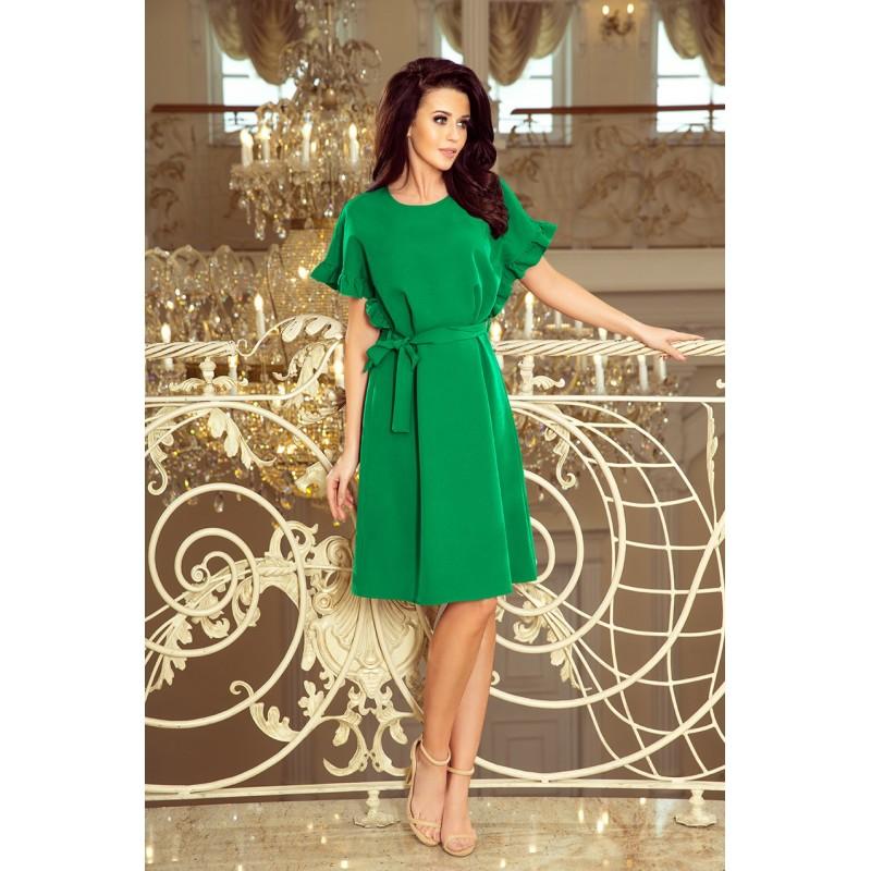 Zelené pohodlné šaty s volány na rukávech pro dámy