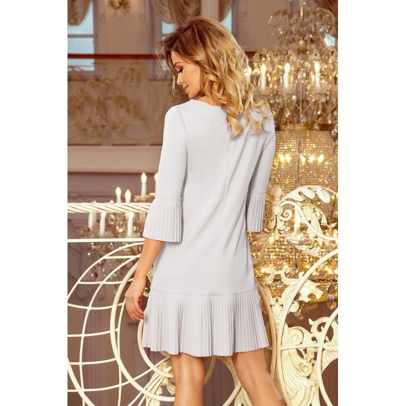 Dámské pohodlné šaty s plisovanými prvky v šedé barvě