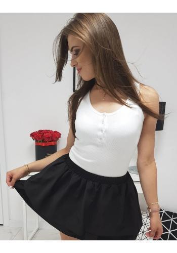 Žebrované dámské tričko bílé barvy na ramínka