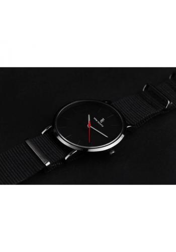Pánské módní hodinky na textilním pásku v černé barvě