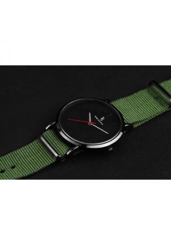 Módní pánské hodinky zelené barvy na textilním pásku