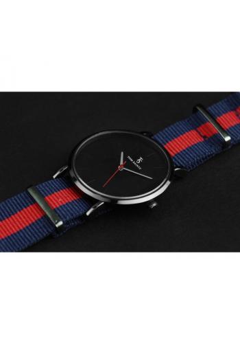 Pánské módní hodinky na textilním pásku v modro-červené barvě